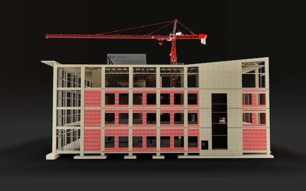Edificio in costruzione modello 3d con una gru da cantiere su sfondo nero. rendering 3d.