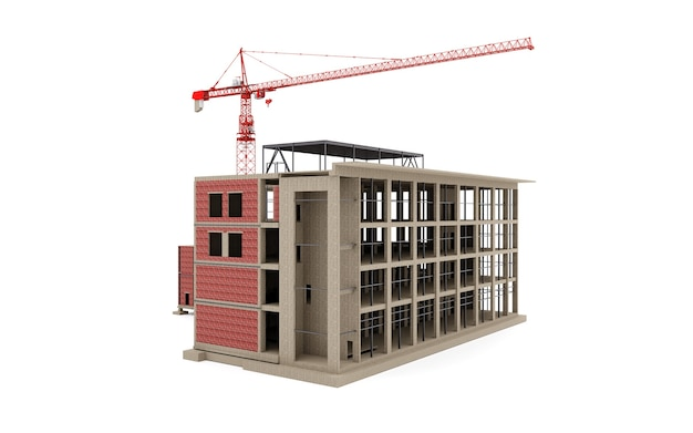 Edificio in costruzione modello con una gru da cantiere su un bianco