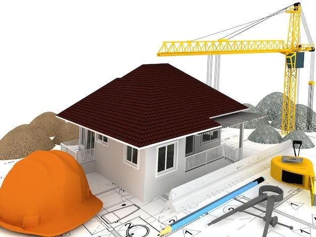 Edificio in costruzione con gru in alto ilustration