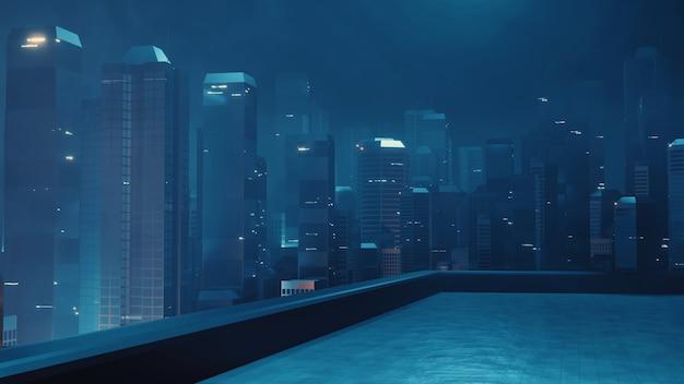 Costruire una terrazza sul tetto con vista notturna della città