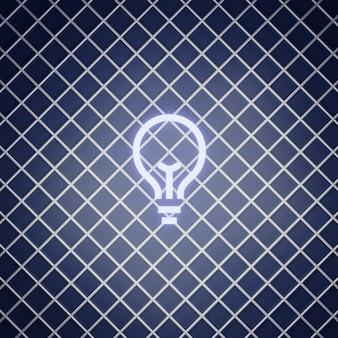 Lampadina segno effetto neon render