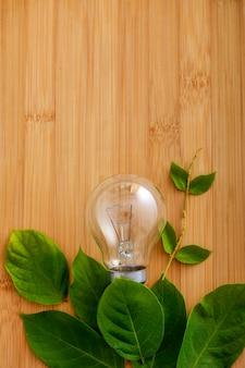Lampadina con foglia verde su fondo in legno