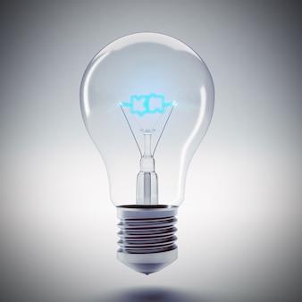 Lampadina con il filamento blu puzzle di parola