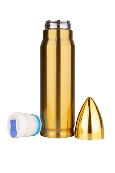 Boccetta di proiettile isolato su priorità bassa bianca.