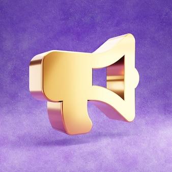 Icona di megafono isolato sul velluto viola