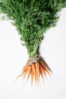 Mazzo di carote legato con una corda isolata su sfondo bianco.