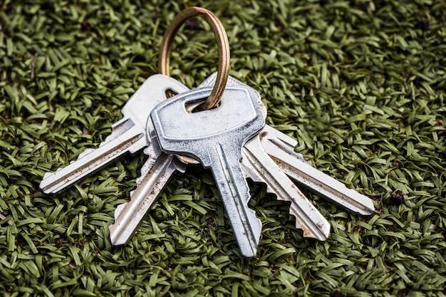Un mazzo di chiavi poggia su un sentiero artificiale verde. non tornare a casa. perdita