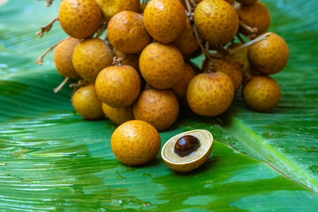 Un mazzo di rami longan su uno sfondo di foglia di banana verde. vitamine, frutta, cibi sani.