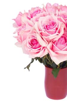 Mazzo di rose in fiore rosa in vaso di creta close up isolati su sfondo bianco