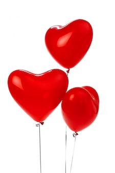 Mazzo di palloncini a forma di cuore rossi