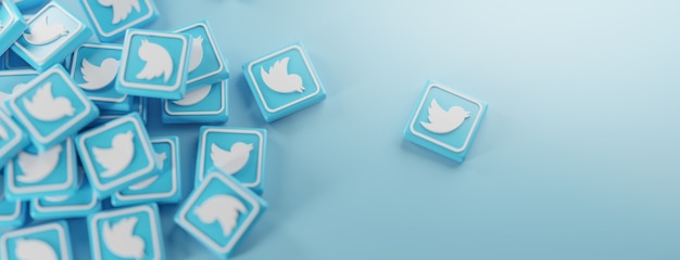 Un mucchio di loghi twitter in blu