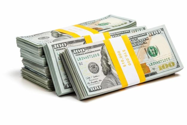 Fasci di 100 banconote in dollari usa dell'edizione 2013