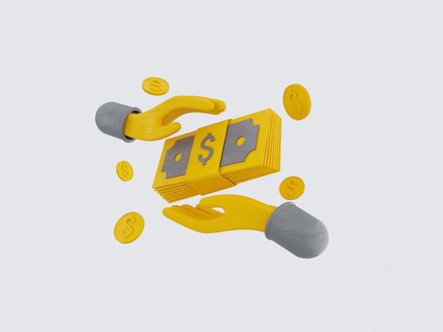 I pacchi di contanti e le monete galleggianti impostano le icone gialle su sfondo grigio 3d illustrazione render