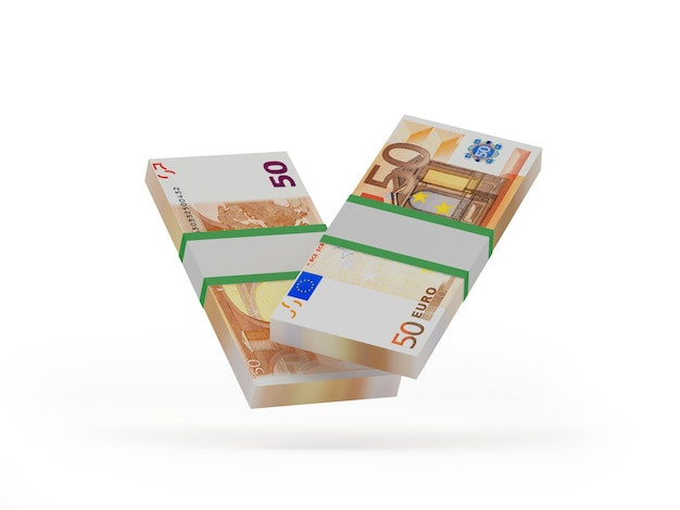 Fasci di cinquanta banconote in euro 3d'illustrazione