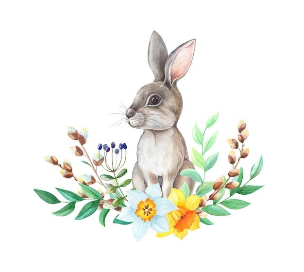 Bunny con fiori e plantes disegno ad acquerello su sfondo bianco.