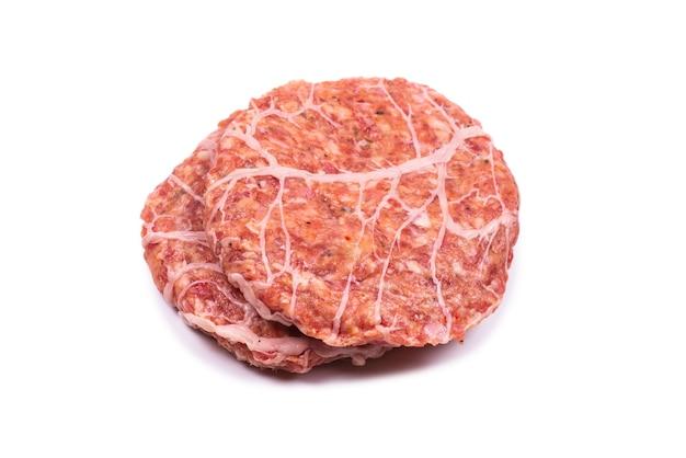 Cotoletta di hamburger isolata su bianco. Foto Premium