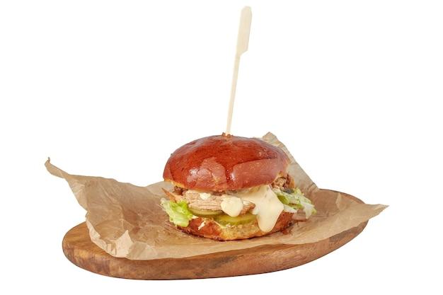 Hamburger con carne, piatto del ristorante, immagine isolata