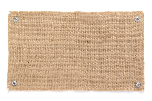 Trama di saccheggio di tela di iuta della tela da imballaggio isolata a sfondo bianco