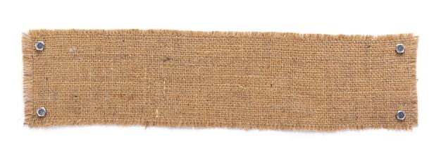 Tessitura di saccheggio di tela di iuta della tela da imballaggio isolata a sfondo bianco