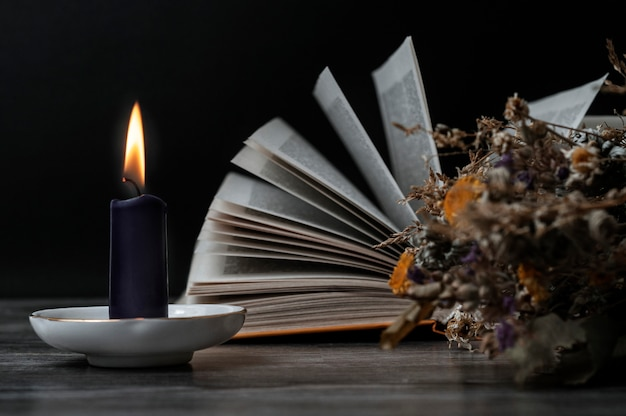 Candela accesa, un libro aperto ed erbe secche. impostare per le streghe.