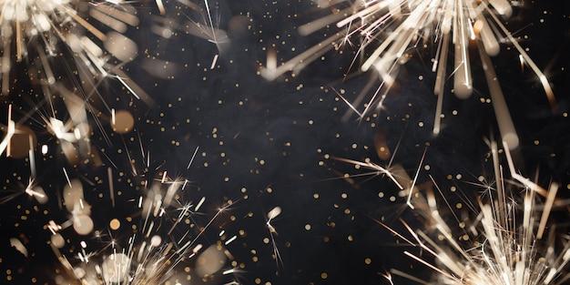 Stelle filanti di natale in fiamme con scintille e fumo