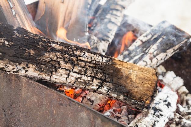 Legna da ardere bruciante nella griglia per il barbecue da vicino
