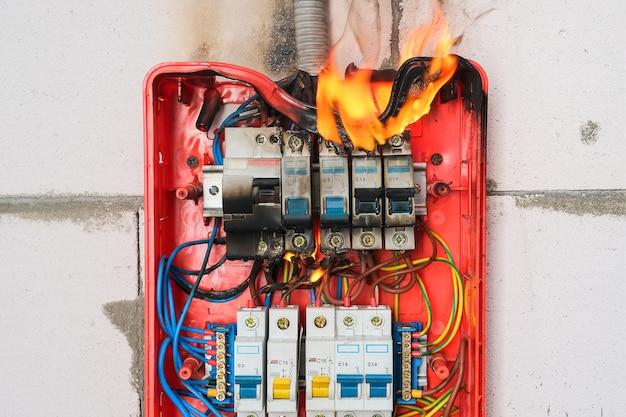 Quadro elettrico in fiamme da sovraccarico o cortocircuito sul primo piano della parete