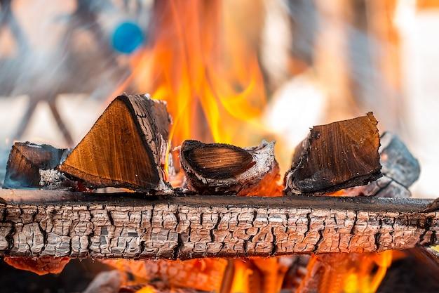 Bruciare legna in un braciere