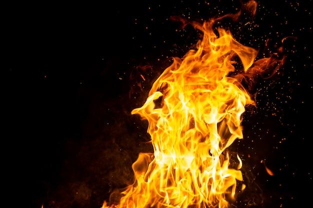 Bosco in fiamme con scintille di fuoco, fiamma e fumo. strane strane strane figure elementali infuocate nella notte nera. carbone e cenere. forme astratte di notte. falò all'aperto sulla natura.