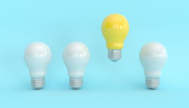 Luce gialla accesa accanto alle luci spente, illustrazione 3d