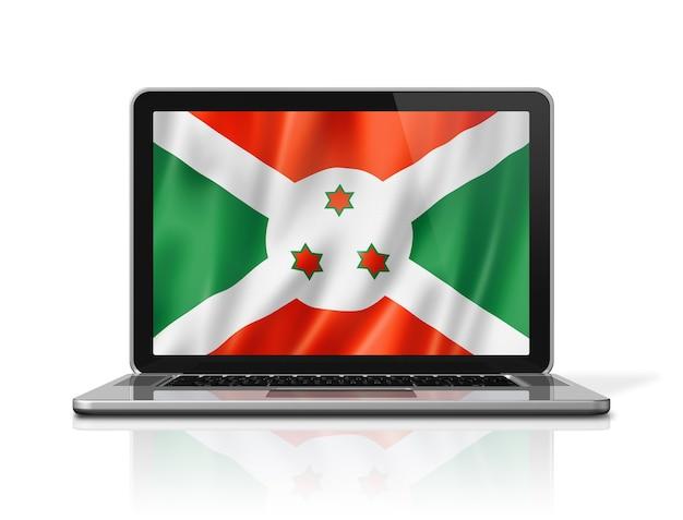 Bandiera del burundi sullo schermo del computer portatile isolato su bianco. rendering di illustrazione 3d.