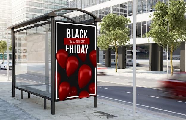 Tabellone per le affissioni venerdì nero della fermata dell'autobus sulla rappresentazione 3d della via