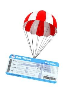 Biglietto dell'autobus con paracadute su sfondo bianco
