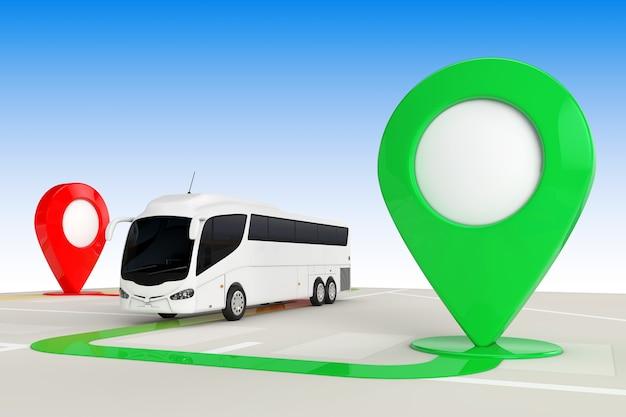 Concetto di viaggio in autobus. big white coach tour bus dall'alto della mappa di navigazione astratta con il primo piano estremo dei puntatori della mappa di destinazione. rendering 3d
