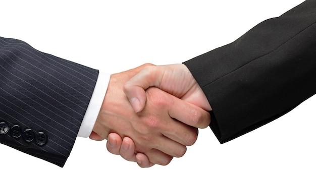 Accordo commerciale stretta di mano sullo sfondo