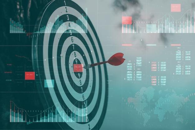 Analisi aziendale con il concetto di dashboard degli indicatori chiave di prestazione. concetto di successo finanziario con un pannello di controllo olografico su uno sfondo di statistiche.