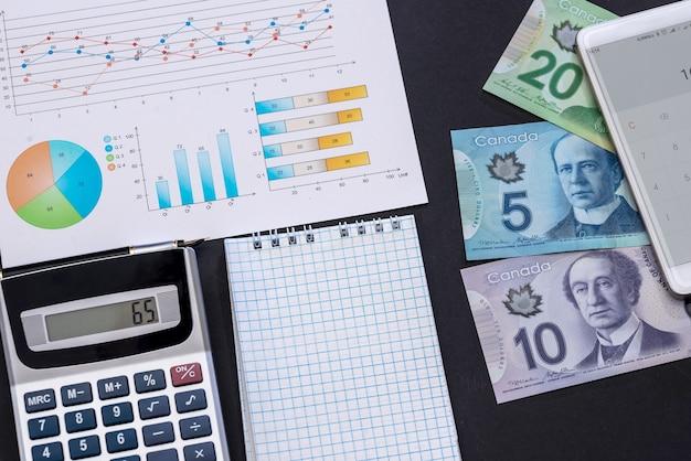 Analisi aziendale, dollaro canadese, grafico e calcolatrice