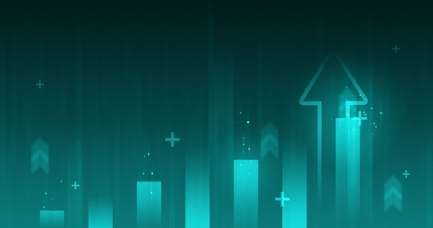 Freccia di affari aumento del grafico di successo e crescita dei guadagni del mercato azionario finanziario sullo sfondo del reddito di profitto con investimento grafico diagramma