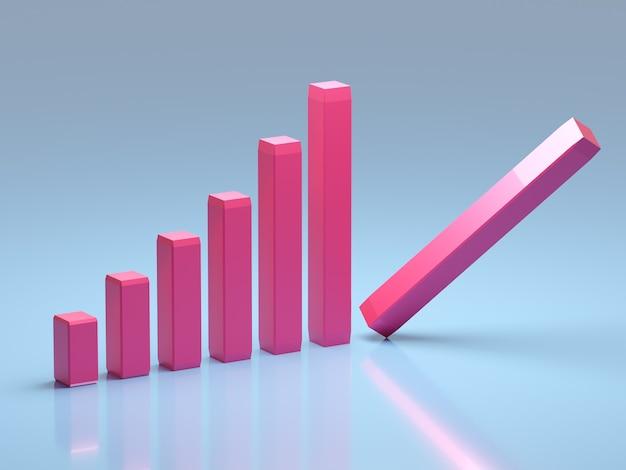 Concetto di fallimento e di affari. grafico in bancarotta con recessione
