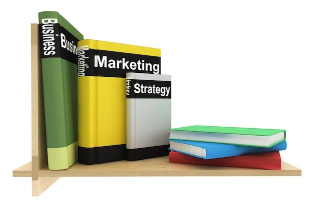 Libri di affari con libreria su sfondo bianco