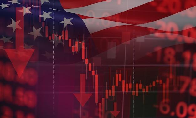 Grafico del grafico del candelabro aziendale del mercato azionario usa recessione economia crollo azionario mercato rosso guerra commerciale economica mondiale finanziaria - crisi azionaria aziendale e mercati in calo coronavirus o covid-19