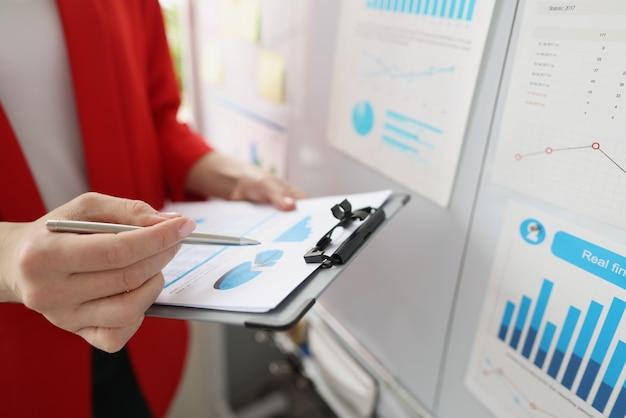 Grafici aziendali per l'analisi aziendale in mani femminili sviluppo di piccole e medie imprese