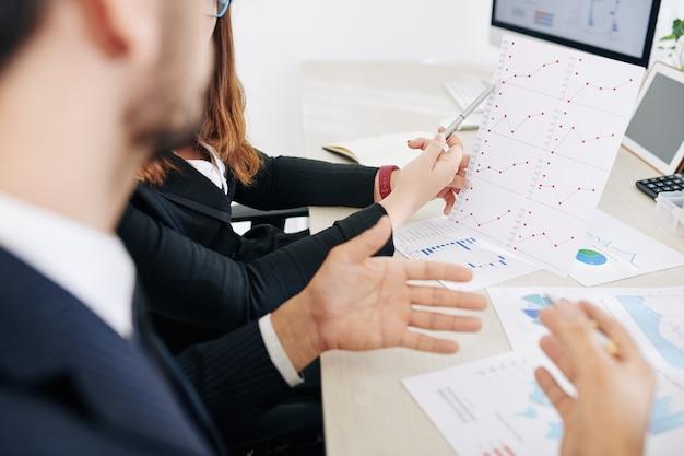 Colleghi di lavoro discutendo grafico a linee crescente alla riunione quando si lavora su analisi di ricerca di investimento