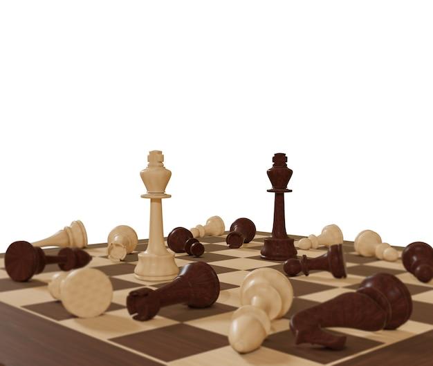 Affari e concorrenza concetto di gioco da tavolo scacchiera concetto di strategia numerica di scacchi su una superficie bianca lotta per la vittoria 3d illustrazione