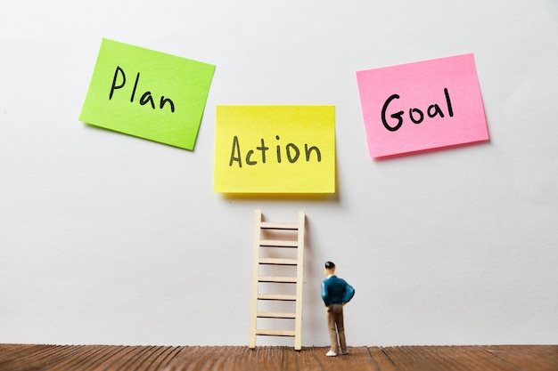 Concetto di business con iscrizioni di obiettivo, piano e azioni su adesivi sotto le scale con una persona.