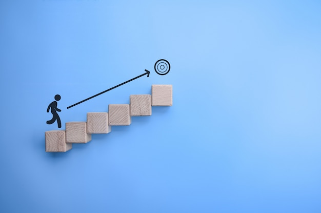 Business concettuale di intenzionalità, ambizione, strada verso l'obiettivo
