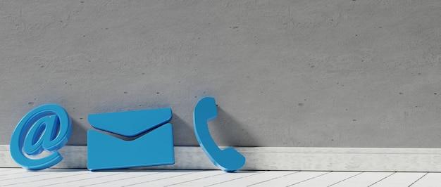 Icone dei contatti aziendali nell'e-mail del telefono magenta e nel rendering dell'indirizzo d
