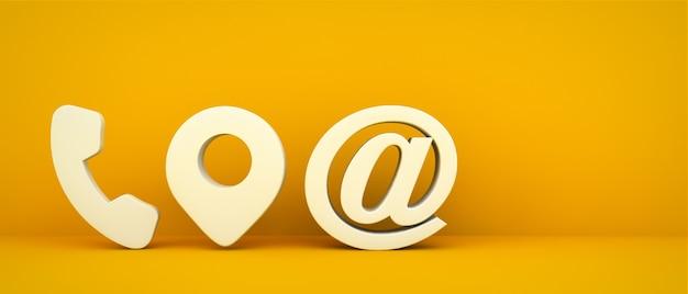 Icone di contatto aziendale su sfondo giallo rendering 3d