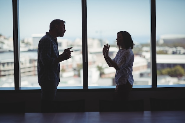 Coppie di affari che discutono vicino alla finestra