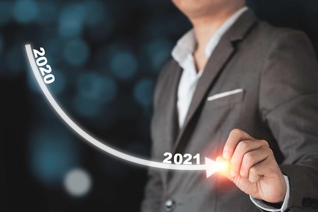 Crisi economica della grande depressione economica da covid-19, uomo d'affari che traccia una linea decrescente dal 2020 al 2021.